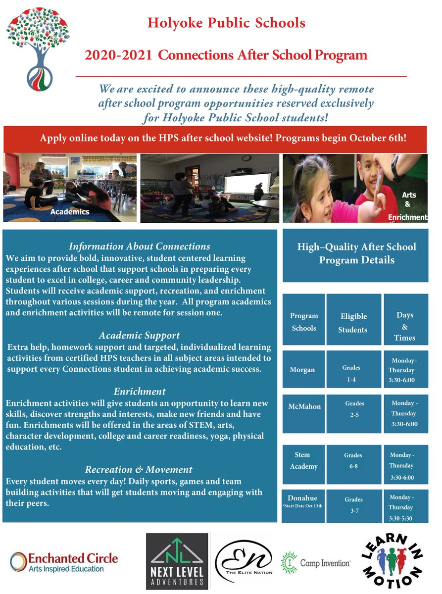The Connections After School program is being offered remotely during Session I (Oct-Dec) for Donahue, McMahon, Morgan, & Holyoke STEM Academy students for the 20-21 SY! Check out the Connections After School Program flyer below and web page for more info: