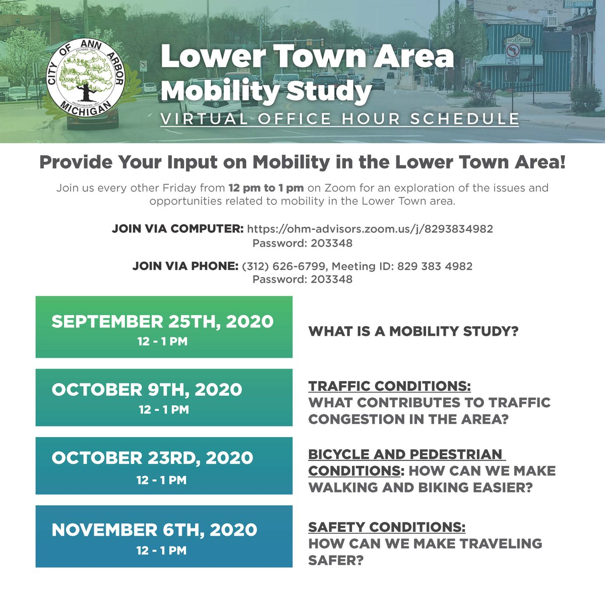 Join city staff later today for the first Lower Town Mobility Study virtual office hour from noon - 1pm. This week's topic: What is a mobility study?