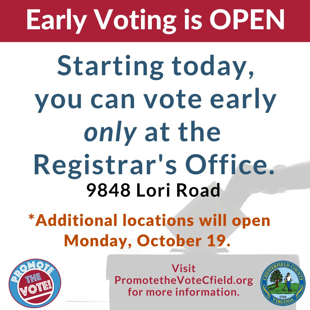 The polls are OPEN from 8:30 a.m to 5 p.m. TODAY for early voting.   Vote in person or bring your completed absentee ballot to the #Cfield Registrar's Office.   Be #VoteReady! Keep up with #Cfield General Election info at !