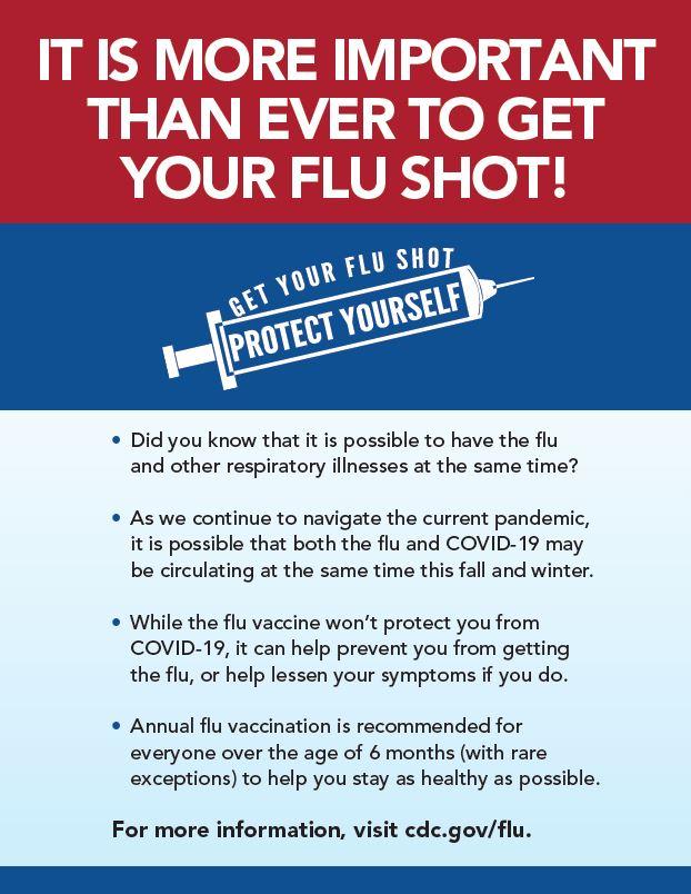 Flu Season Ahead!! Prepare now and get your flu shot.