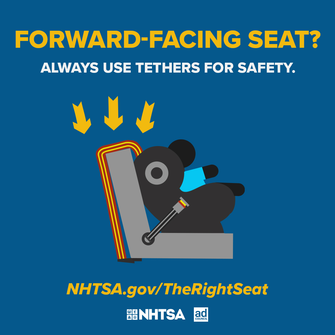 Top-tethers are important as they limit forward head movement in a crash. Always check your car seat and vehicle manuals for proper installation.   Contact carseat@montcopa.org with questions or to set up a virtual check. Tethers Make A Difference!
