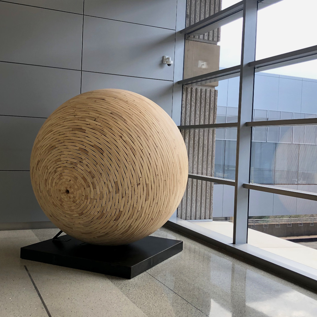 It's the #FinalFriday in September and what better way to celebrate than by playing #FindPhoenixFriday - the game where you guess the #Phoenix picture. We have lots of #publicart but this piece is a recent addition - who knows where? #woodenball #woodsculpture #woodart
