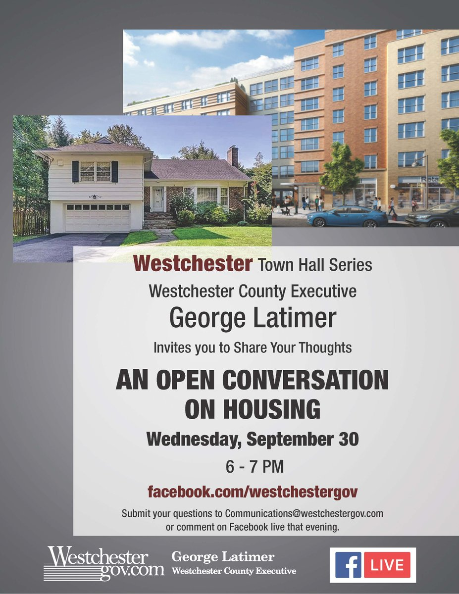 Join us on September 30 at 6PM on Facebook Live. Send your questions to communications@westchestergov.com or ask them in the comment section on our Facebook live stream during the event.