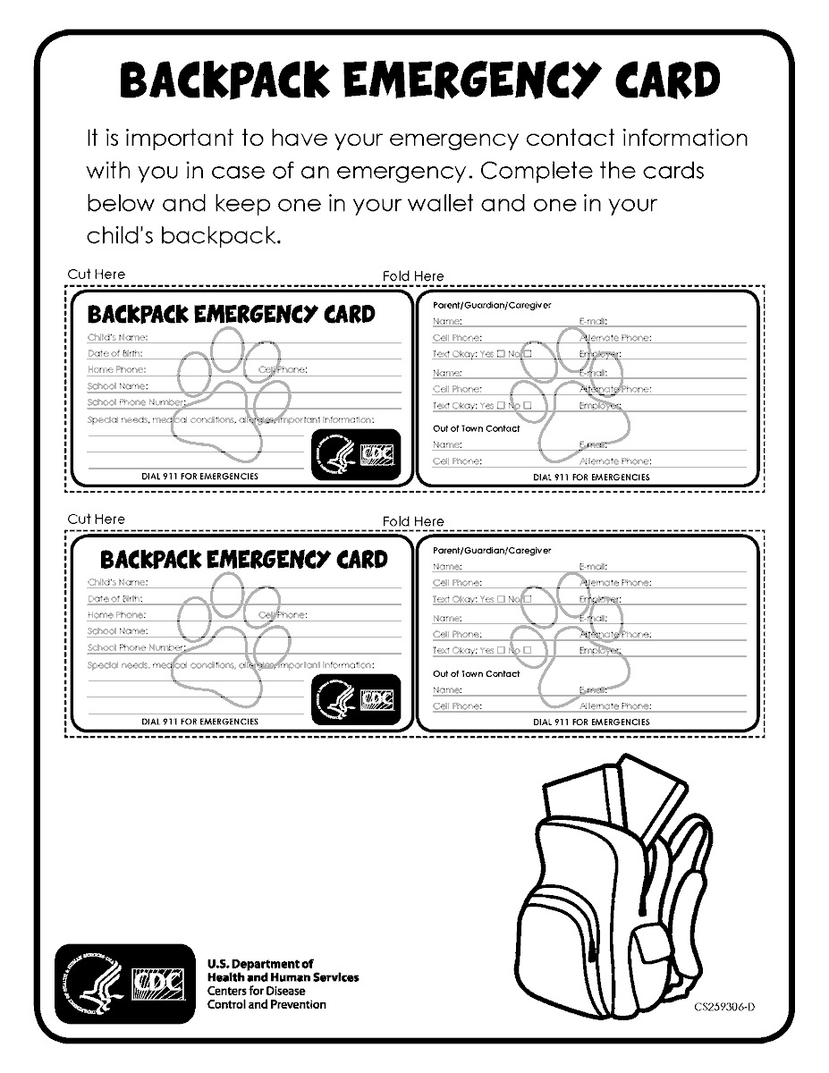 Create a backpack emergency card that your child can keep with them in their backpack.  Download the template at  #YouthPrep #ReadyMA