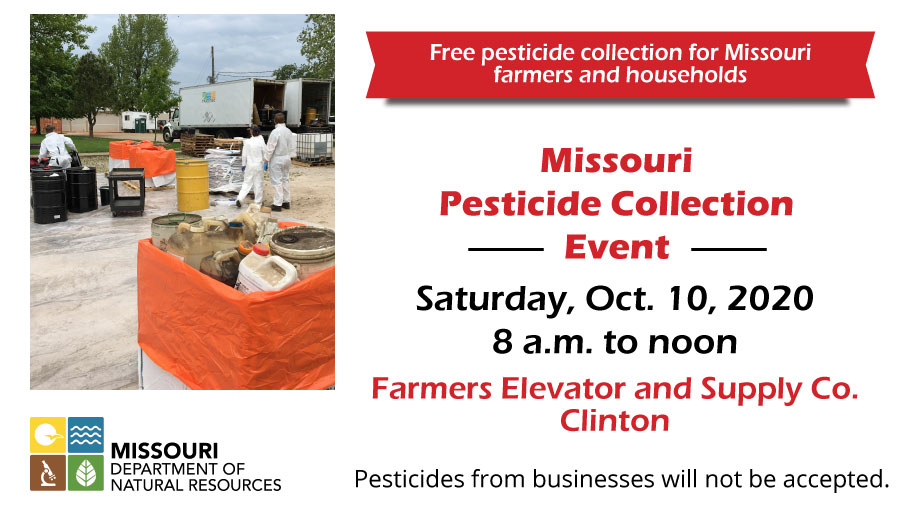 Save the date! Drop off your unwanted pesticide waste Oct. 10 from 8 a.m. to noon at the Pesticide Collection Event at Farmers Elevator and Supply Co. in Clinton.