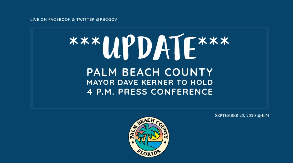 📢 Happening Today: #PBC Mayor Dave Kerner Press Conference on local actions pertaining to #COVID19. Broadcast live on Facebook & Twitter @pbcgov at 4 P.M.  Watch on YouTube:  Live streamed on website:   #TeamPBCTogether #PBCStrong