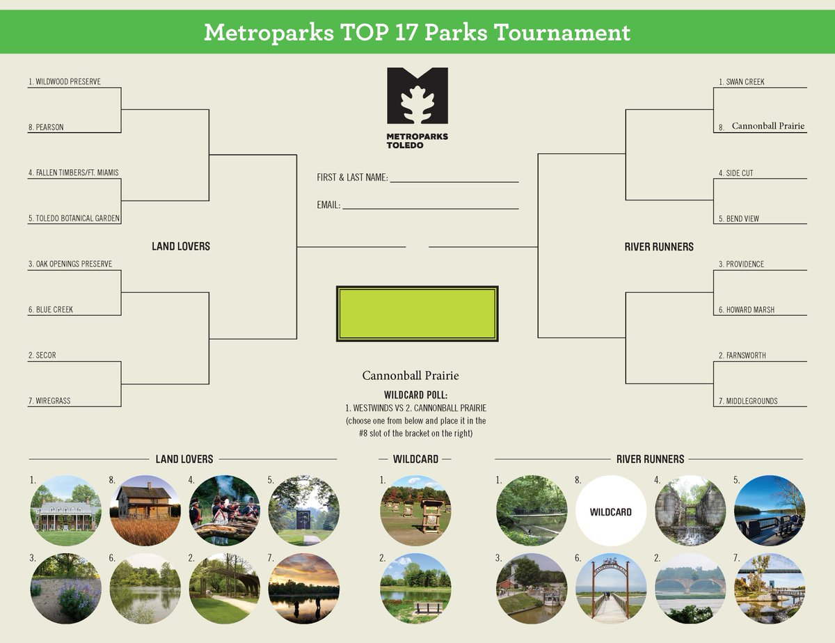 And the TOP 17 Parks wildcard winner is.... Cannonball Prairie!   Round 1 voting starts tomorrow, who do you have going all the way?  Fill out your bracket at:
