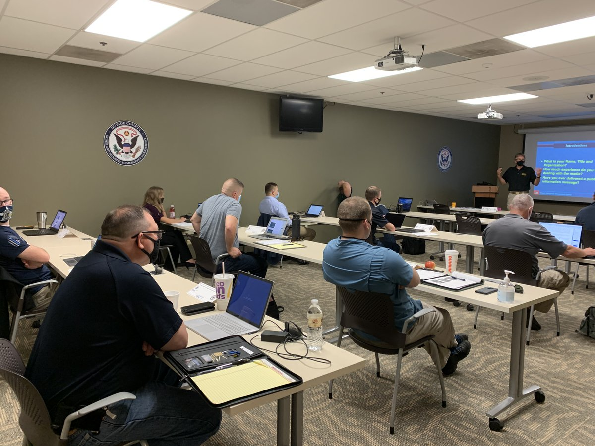 We're honored to host 1st IEMA training class today since the #COVID19 pandemic onset. Masks, sanitizer, social distancing are the norm. Students are screened entering the building. We're proud to partner w/ @ReadyIllinois to lead the way in training & preparedness. @DuPageCounty