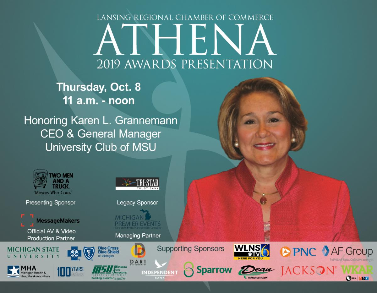 Don't forget to join us virtually at the 2019 ATHENA Leadership Award Presentation honoring Karen L. Grannemann, CCM, general manager and CEO, @UClubMSU on Oct. 8  for her professional accomplishment & devotion to the Lansing region! ✨  Register here: