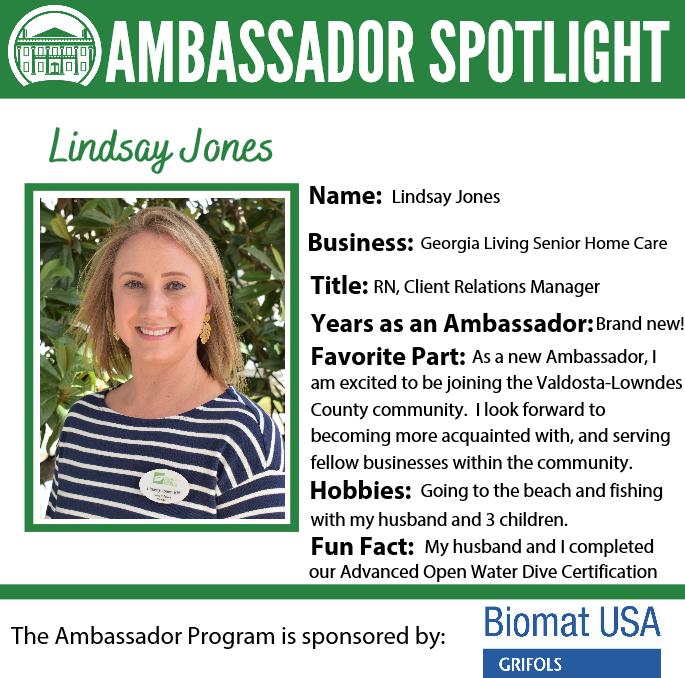 Get to know the friendly faces behind the green blazers! Meet Lindsay! #ValdostaChamberAmbassadors #AmbassadorSpotlights