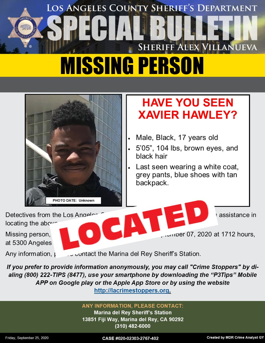 **LOCATED** #LASD is Asking for the Public's Help Locating At Missing Person Xavier Hawley, Los Angeles.