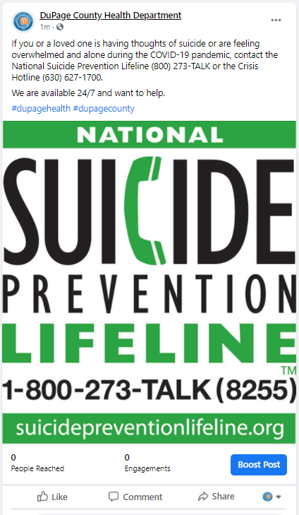 If you or a loved one is having thoughts of suicide or are feeling overwhelmed and alone during the COVID-19 pandemic, contact the National Suicide Prevention Lifeline (800) 273-TALK or the Crisis Hotline (630) 627-1700.  We are available 24/7 and want to help.  #dupagehealth