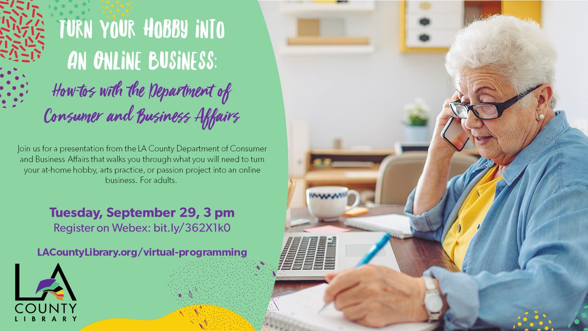 📅 Mark your calendars 📅 Tuesday, Sept 29: Learn how to turn your hobby, arts practice, or passion project into an online business with a presentation from @LACountyDCBA.    Sign up at