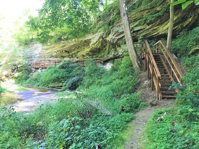 The DNR Division of Nature Preserves is celebrating National Public Lands Day by reopening the North Trail at Portland Arch Nature Preserve in Fountain County. New trail has frog-friendly boardwalk along Bear Creek gorge.   #nationalpubliclandsday #npld