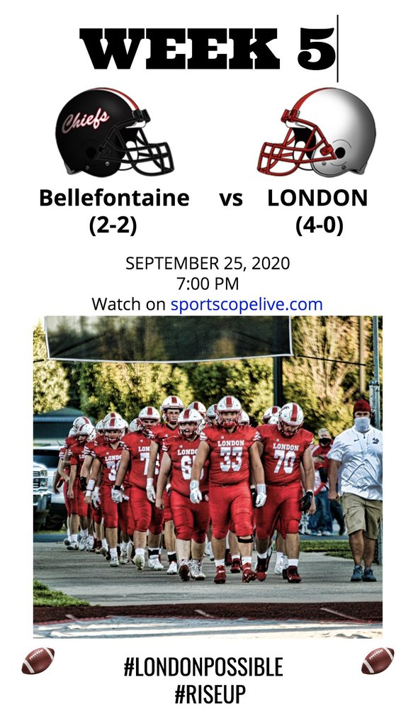 Friday Night Football - Episode 5 takes place this evening as the home team takes on Bellefontaine. Check out the live stream at  #londonpossible #riseup #inthistogetherLCS