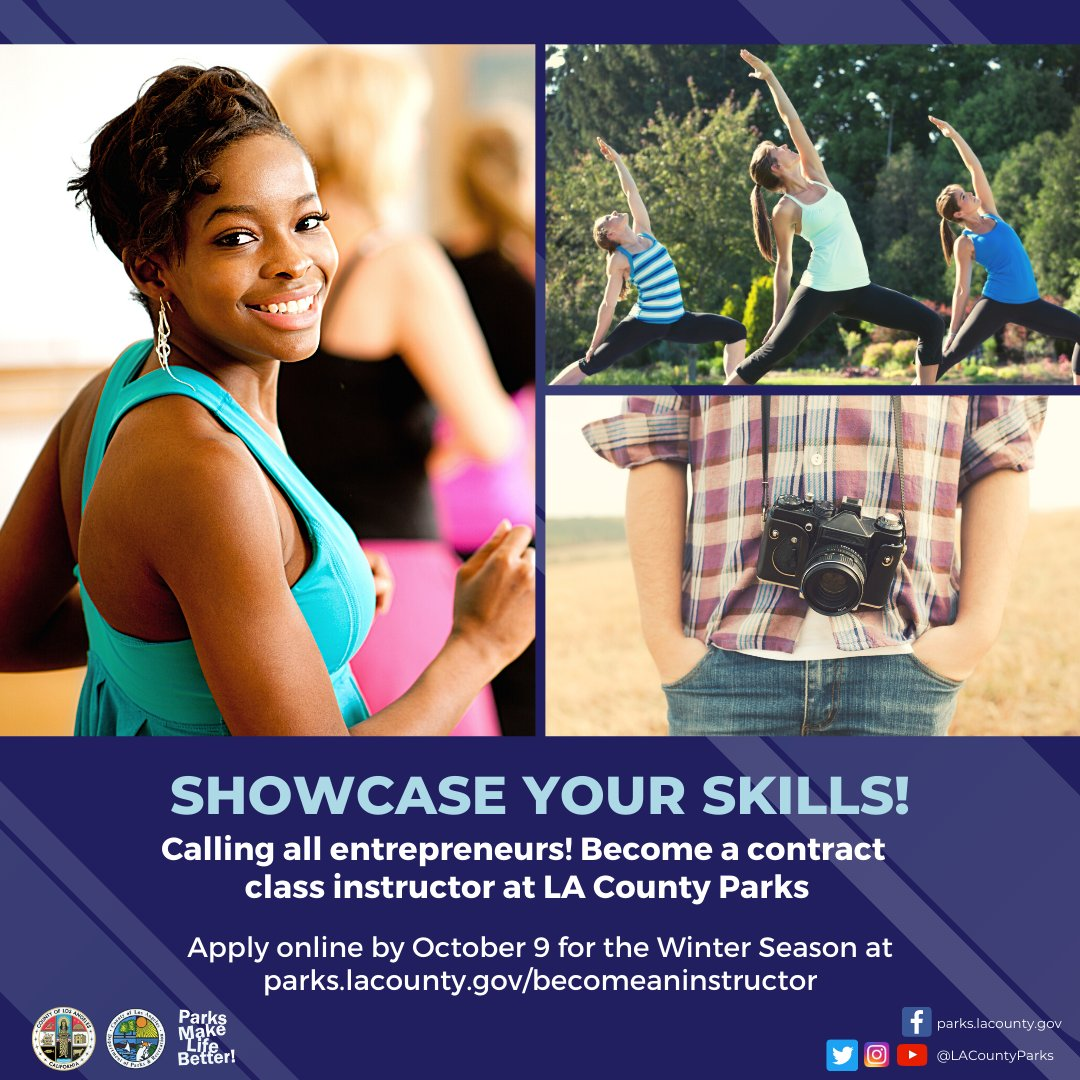 Are you an avid artist 👩🎨, musical maven 🎸, fitness fanatic 🏃? Bring your talent to #LACOUNTYPARKS through our Contract Class Program. Apply online to teach your class during the Winter season (starting January 2021). Get more information at: .
