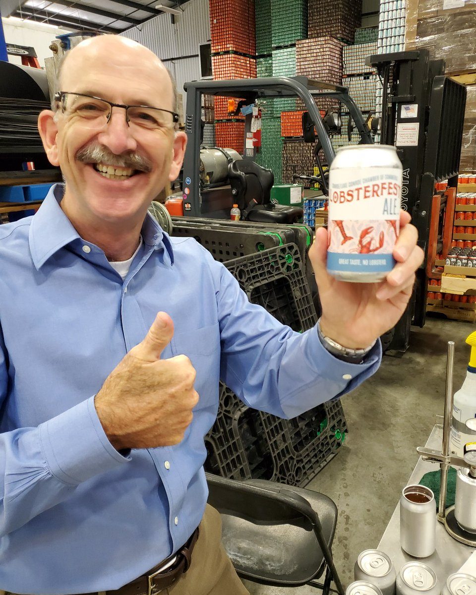 A Community Collaboration: Great taste, NO LOBSTERS!  Our president Brian shows off our Lobsterfest Ale that you can pick up at Lobsterfest next week - in partnership with Southern Star Brewing Co., Crown Cork and Seal and Fastsigns!  It's 5 o'clock somewhere!