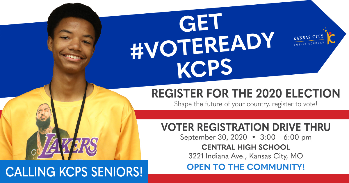 Get #VoteReady! You're encouraged to REGISTER TO VOTE before the Oct. 7 deadline. KCPS is hosting a Voter Registration Drive Thru on Sept. 30, 3-6 pm at Central High, at 3221 Indiana Ave. Everyone is welcome!   Learn more: