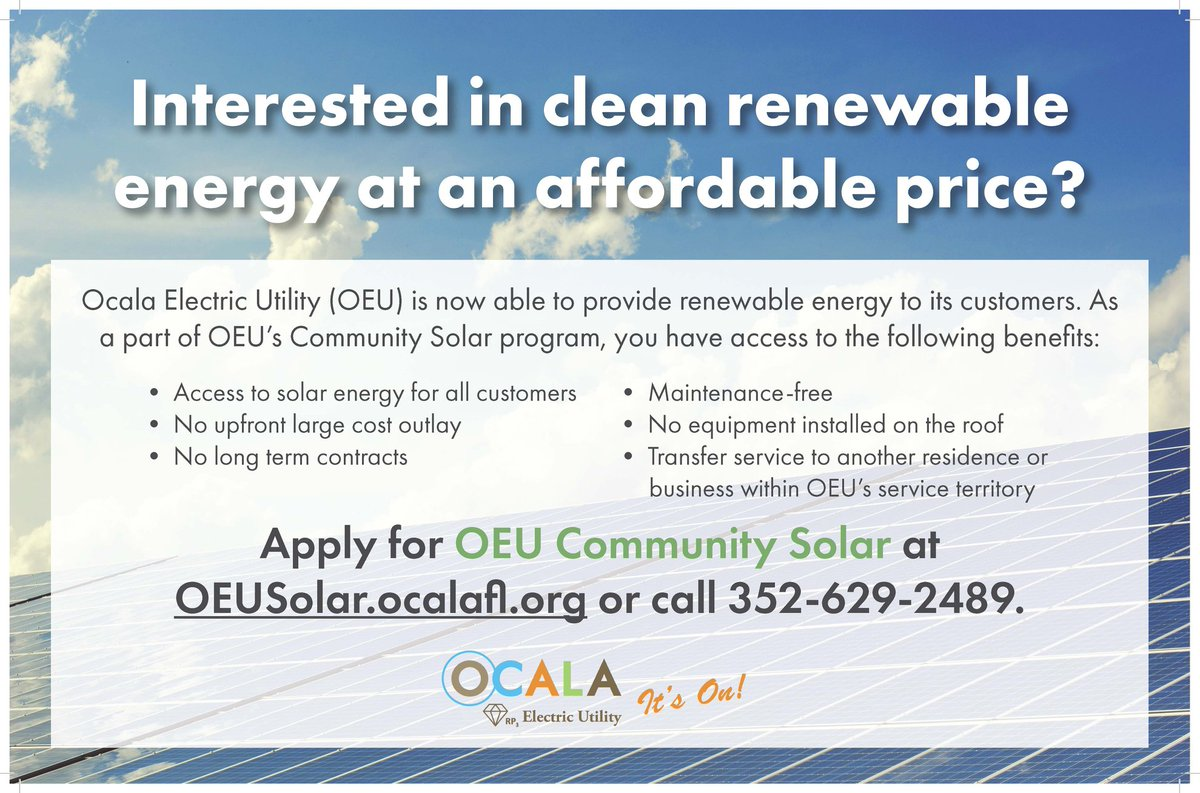 Are you interested in clean, renewable energy at an affordable price? @OEUinfo is part of the Florida Municipal Solar Project, a large-scale community solar energy project that enables us to provide renewable energy to our customers.