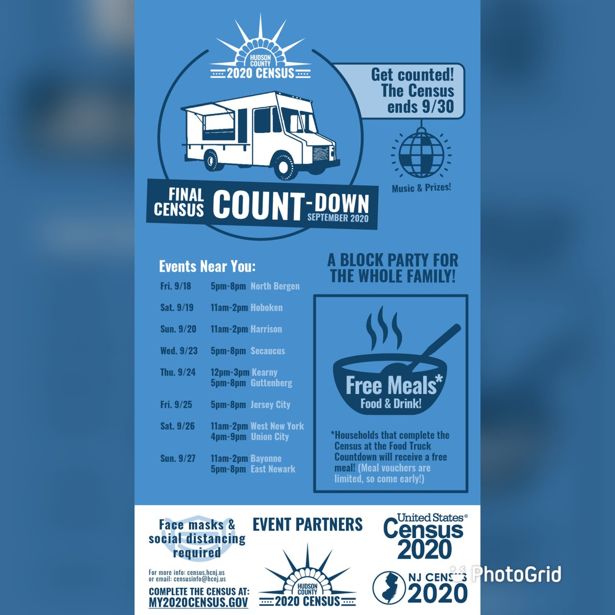 This weekend enjoy a free meal after you fill out the 2020 Census! Jersey City, Union City, West New York, Bayonne and East Newark--join us for a Final Count-Down Block Party in your community!