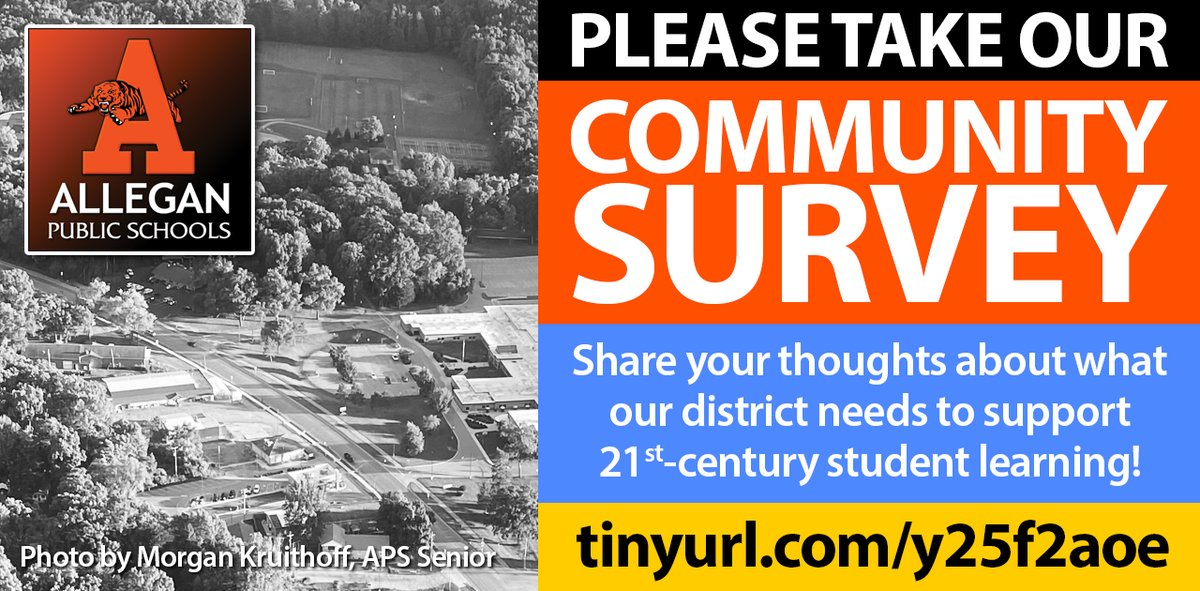 Please take our Community Survey at , and share your thoughts about what our district needs to support 21st-century learning!
