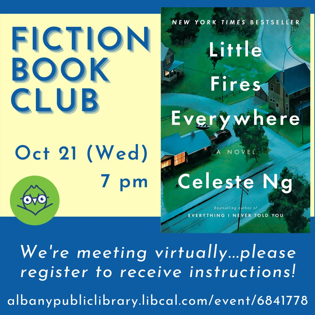 The next Fiction Book Club selection is Celeste Ng's stellar, hit novel,