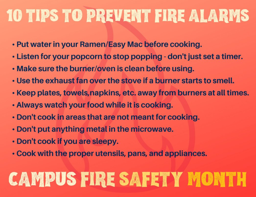 #FireSafetyFriday: Follow these #cookingtips to avoid being that student who sets off the fire alarm. #CampusFireSafety #CollegeLife #CampusFireSafetyMonth #CFSM2020 @JacksonStateU @TougalooCollege @HindsCC @MissCollege @BelhavenU @millsapscollege