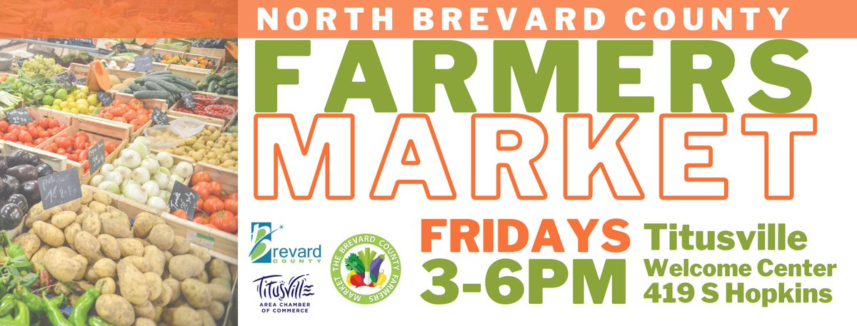 Stop by the Welcome Center in the Julia St. Parking Lot today from 3 to 6 PM for the North Brevard County Farmers Market. It's open to the public, and Good News! Funds from the #CARESAct are available to assist anyone financially affected by #COVID19 in purchasing food.