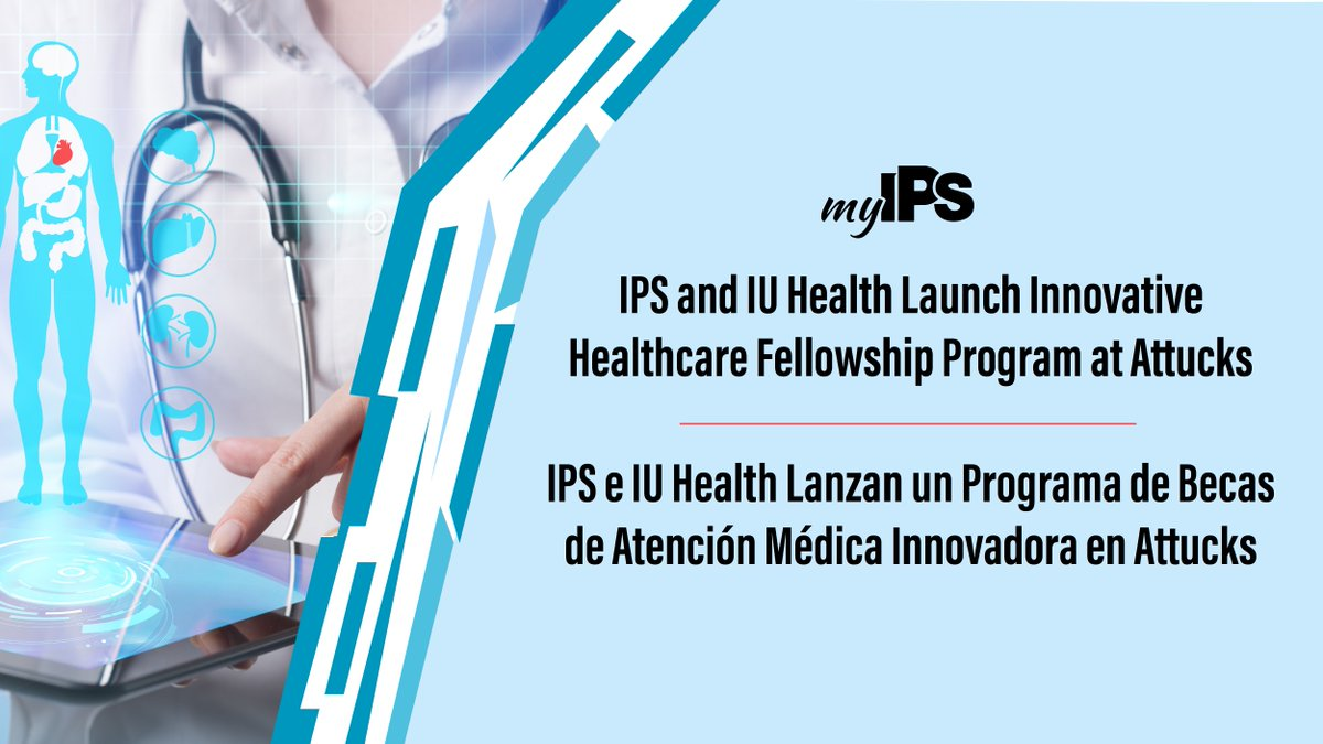 """IPS has partnered with @IU_Health to launch a health care-focused fellowship program at @CAttucksIPS.  """"We are always looking for new, innovative ways to ensure our students succeed after they graduate."""" - @AleesiaLJohnson   Learn more👉"""
