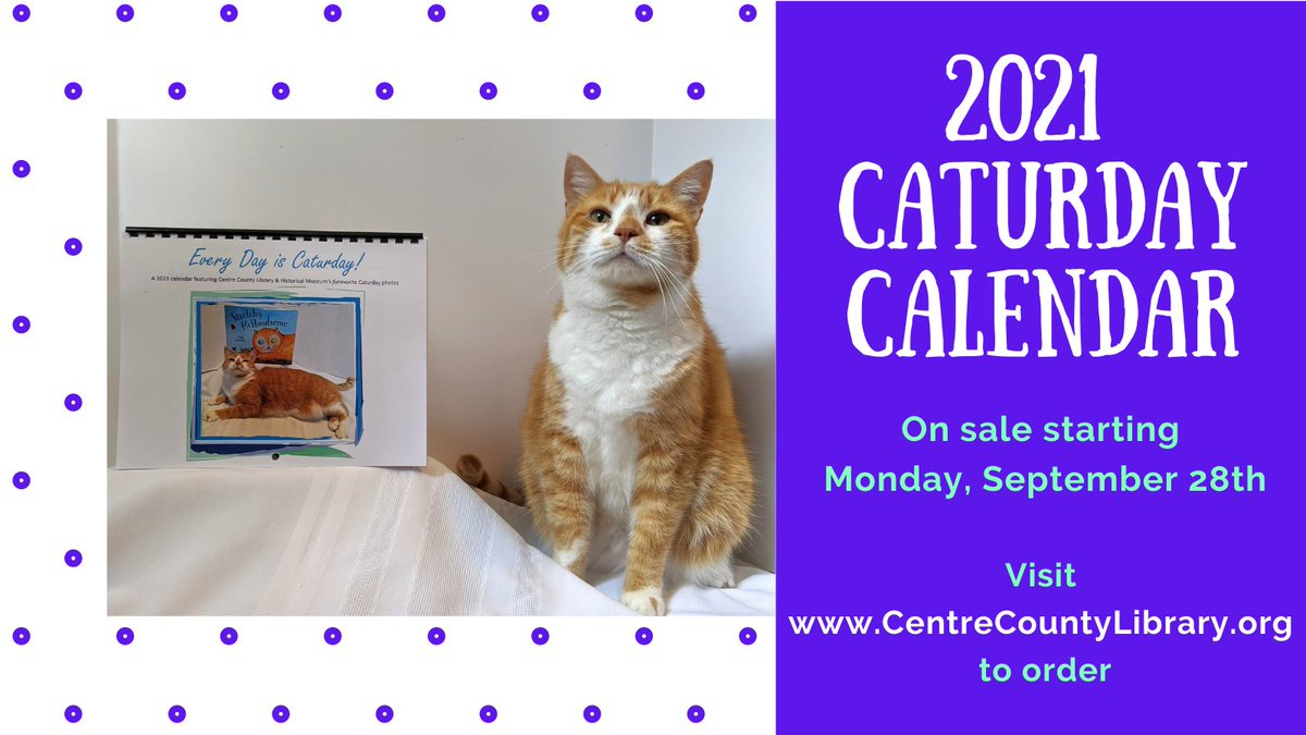 Our annual calendar fundraiser begins on Monday! Calendars will be $11 each and shipping is available within the U.S.  For more information, email: caturday@centrecountylibrary.org   #HoratioTheCat