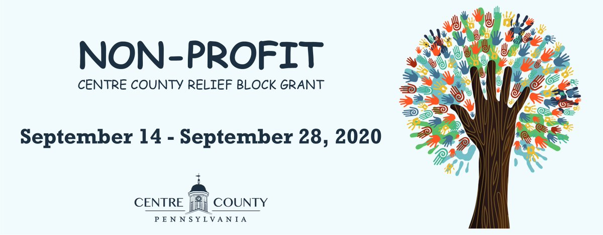 The Centre County Relief Block Grant is open and accepting applications from local Non-Profits.  Eligible organizations must: 🤝 Be a 501(c)3 or 501(c)19 📍 Be physically located  and deliver services in Centre County.  💻Review requirements and apply at