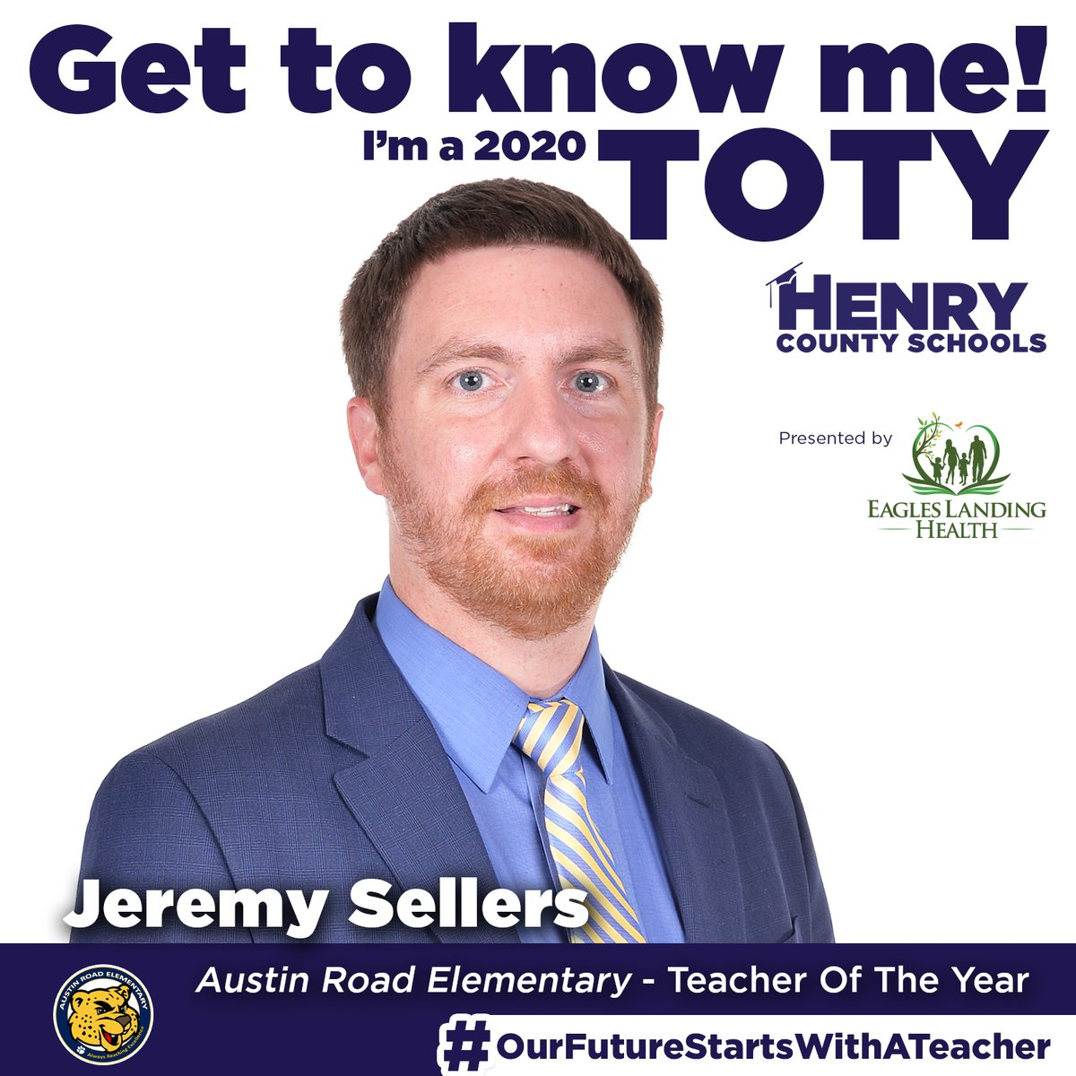 Our next Teacher of the Year, from @ARES_HCS, is Jeremy Sellers!  Congrats to Mr. Sellers! #OurFutureStartsWithATeacher  TOTY Sponsor: @ELHgeorgia