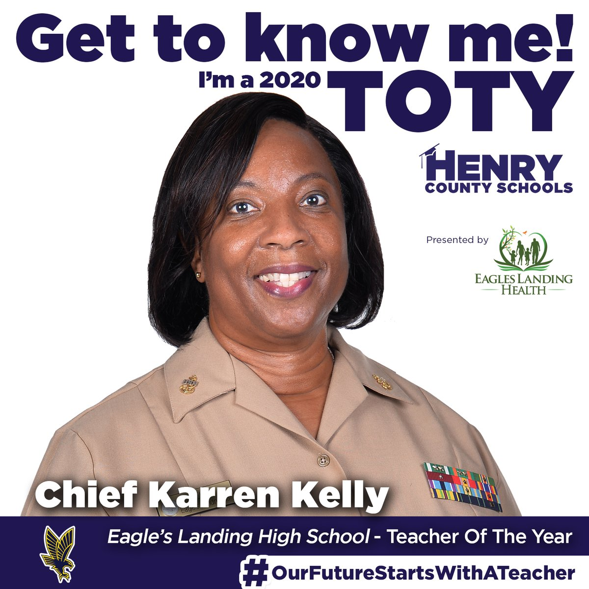 Our next Teacher of the Year, from @ELHS_HCS, is Chief Karren Kelly!  Congrats to Chief Kelly! #OurFutureStartsWithATeacher  TOTY Sponsor: @ELHgeorgia