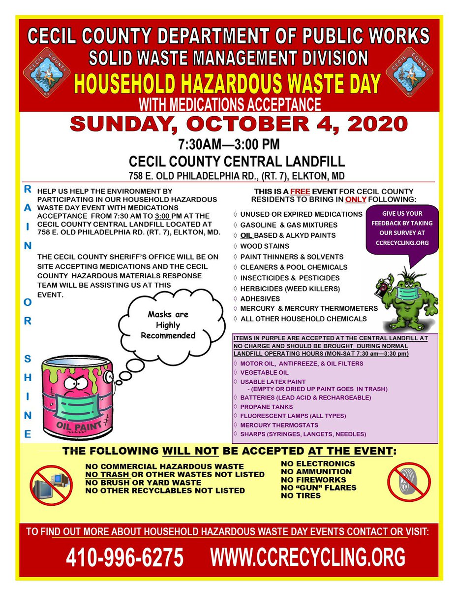 On Sun, Oct. 4th at the Central Landfill from 7:30am-3pm, we will be holding Household Hazardous Waste Day, with medications acceptance, for Cecil Co residents. 410-996-6275 or  #HHWDay #CecilRecycling @CecilCoGov