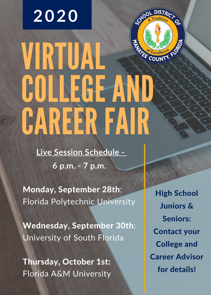 High School Juniors and Seniors: Here's next week's Virtual College and Career Fair lineup.  A complete schedule is available on .  Contact your school's College and Career Advisor for details #WeManatee