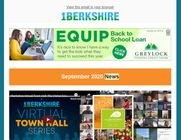 How can you stay informed about economic development news, vacation planning, local business profiles, great deals, and more? Subscribe to 1Berkshire's e-newsletters!