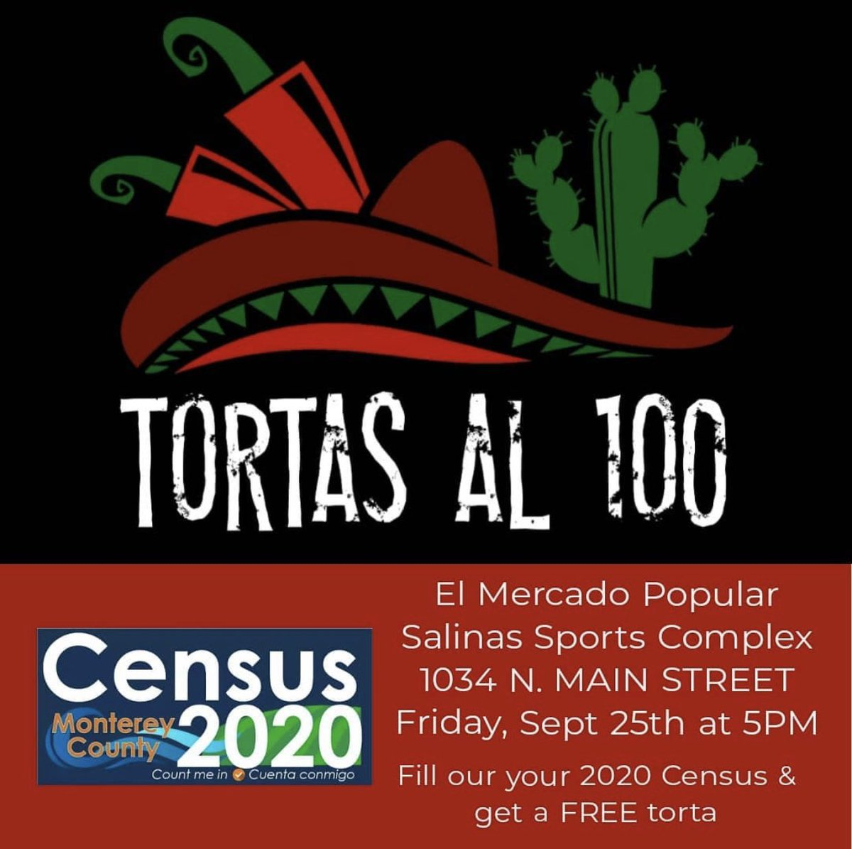 Great news! #2020Census schedule has been extended for an additional month:  MORE great news! If you haven't filled out your Census, come out to @CityofSalinas TODAY and get a FREE torta! Let's #BeCounted, #Monterey County! @2020Census_MC @TortasAl100