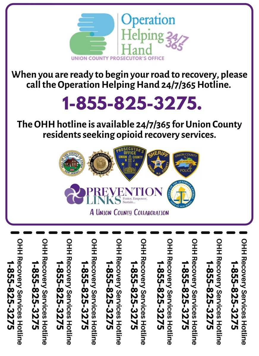 This week, UCPO Detectives visited pharmacies across Union County to hand out grab-and-go flyers with the phone number for our Operation Helping Hand Hotline.   📞The OHH hotline is available 24/7/365 for any Union County resident ready to begin their recovery journey.