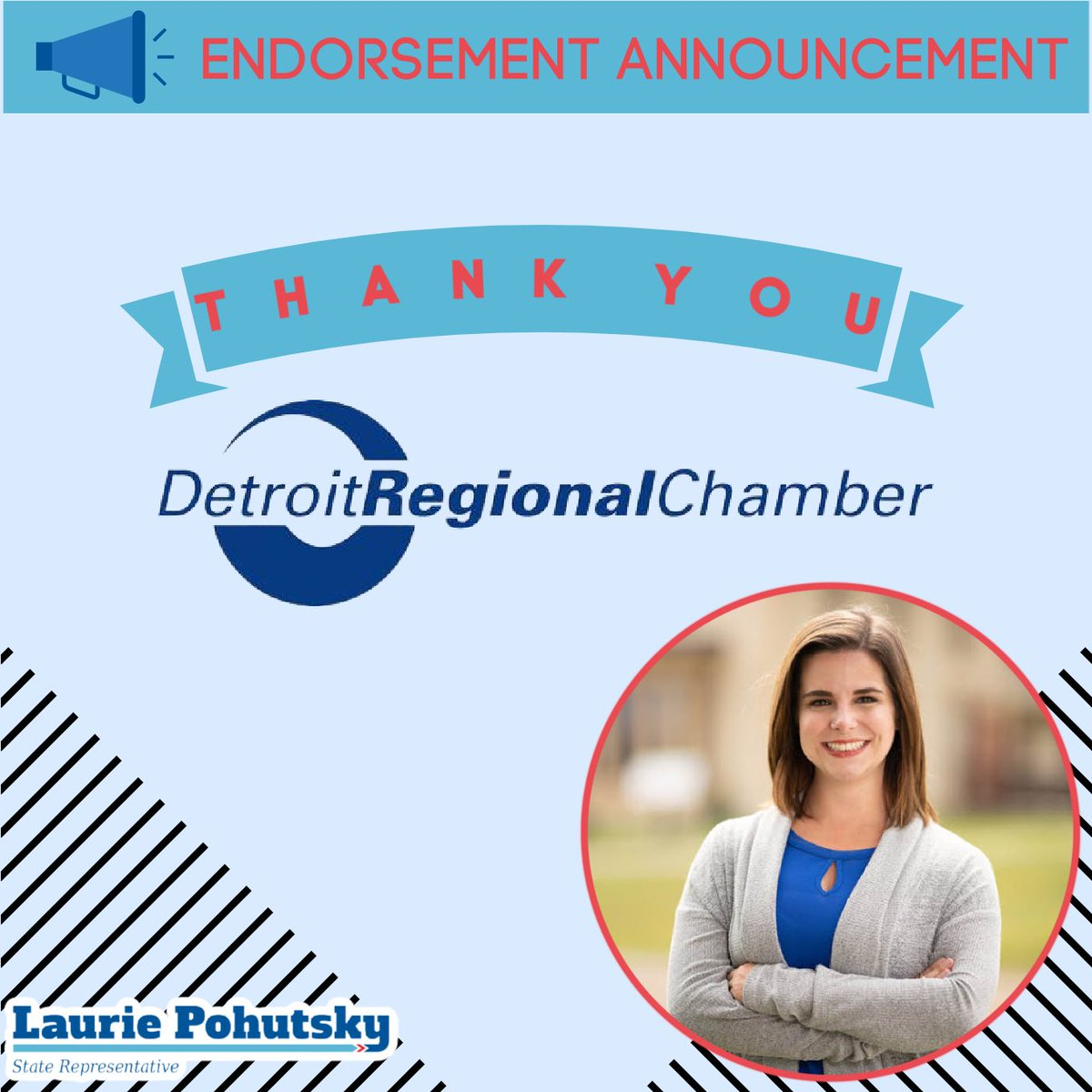 RT @lpohutsky19: I'm thrilled to have earned the endorsement of the @DetroitChamber for my re-election!