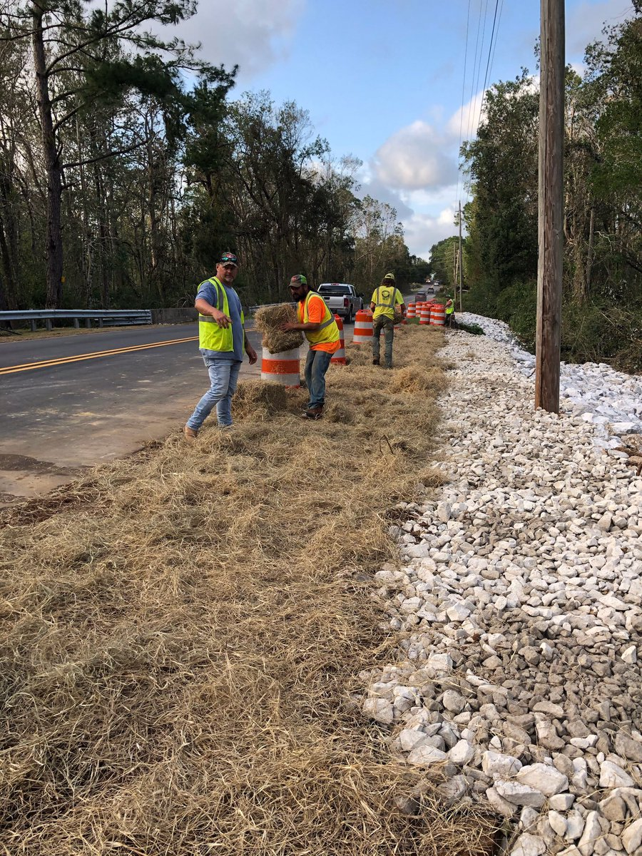 Crews from ALDOT contractor C&H Construction are repairing guardrail along SR-181 that was damaged from a fallen tree as result of Hurricane Sally.