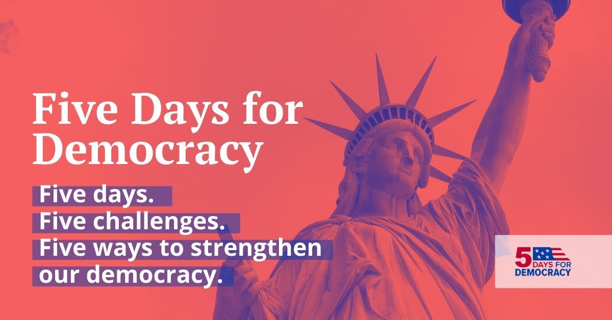Join @TheCityClub and your local libraries for the Five Days for Democracy, a week dedicated to exploring what democracy means to you, why it's important, and why it's worth fighting for. Register at  #5Days4Democracy