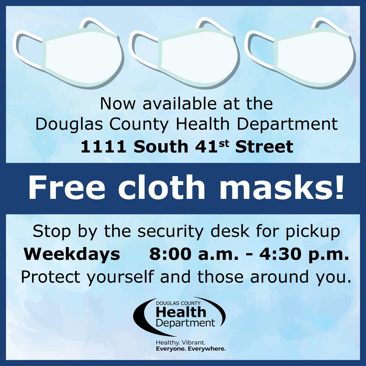 It doesn't get much easier than this. Stop by today. #MaskUpMetro #NECOVID19 #InThisTogether @UNMCCOPH @NEDHHS @Omaha_Scanner @DCTreasurer @OmahaFireDept @OmahaPolice @DouglasCountyNE @DCSheriffNE @noiseomaha @eternaltattooomaha @500millennialsomaha