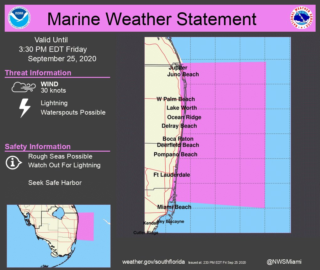 RT @NWSMiami: Marine Weather Statement: Strong Thunderstorms Over The Waters.  #flwx