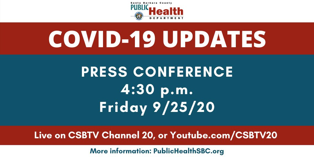 Press Conference on COVID-19: live on CSBTV, Friday 9/25 @ 4:30 pm. (Channel 20 or )   Conferencia de prensa sobre el COVID-19: en vivo en CSBTV, viernes 25 de septiembre a las 4:30 pm. (Canal 20 o )