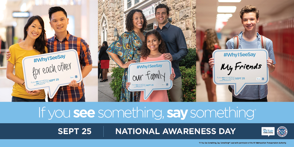 """Today is national """"If You See Something, Say Something®"""" Awareness Day! You, your family, and your friends all play a critical role in keeping Florida safe. Join us in spreading the word by sharing why you See Say on social media. #FLSeeSayDay #WhyISeeSay"""