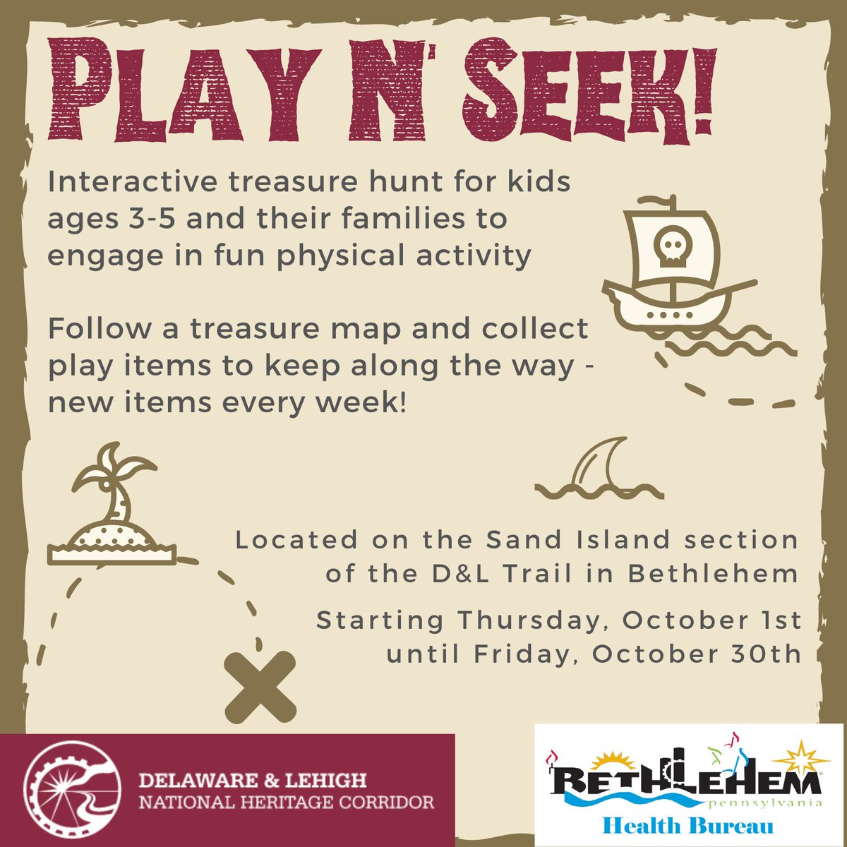 "Families with younger children--We are launching a new and exciting program called ""Play N Seek"" during the month of October. Check out the flyer for more info.  Your kids are going to love it! @DLHeritage @BethlehemAreaSD @paBAPL"