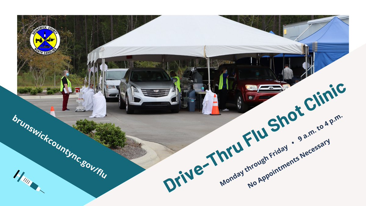 Believe it or not—but we're already in #flu season. Don't delay—get your flu shot!   Our drive-thru flu shot clinic is now open at the #Brunsco Government Complex. Swing by any time from 9 a.m. to 4 p.m. Monday through Friday to get vaccinated! Here's how:
