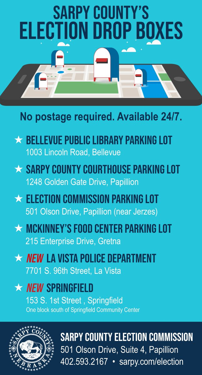 Sarpy County now has six secure, drive-up ballot boxes across the county. Click on the graphic to see all of the locations.  The drop boxes are available 24 hours a day, seven days a week during the election cycle, and Election Commission employees empty the boxes each day.