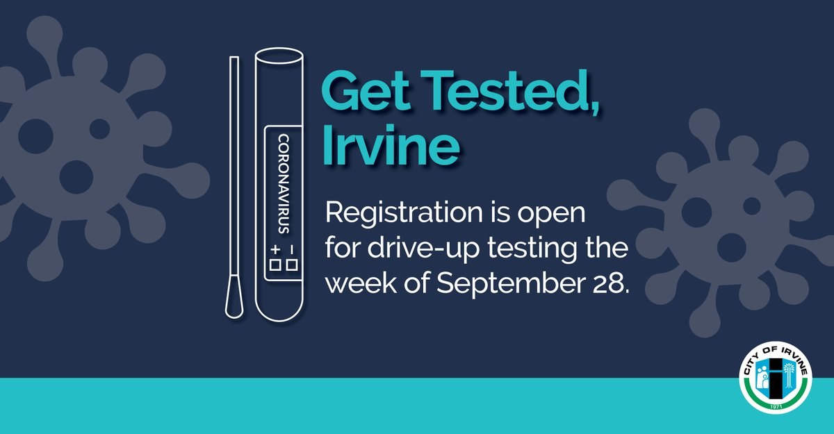 #GetTestedIrvine. Appointments for drive-up Covid-19 testing are available next week at @ocgreatpark.   Testing is available for anyone who lives or works in Irvine, regardless of whether they have symptoms, and there is no out-of-pocket fee.  Learn more👉