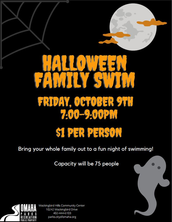 Only two more weeks until the Halloween Family Swim at Mockingbird Hills Community Center! Bring the whole family on Oct. 9th from 7-9pm, only $1 per person. Get into the spooky spirit! 👻🎃